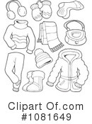 Royalty-Free (RF) Winter Clothes Clipart Illustration #1081649