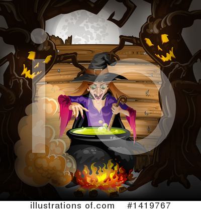 Royalty-Free (RF) Witch Clipart Illustration by merlinul - Stock Sample #1419767