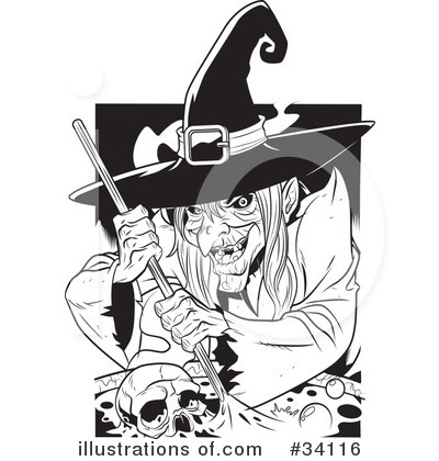 Witch Clipart #34116 by Lawrence Christmas Illustration