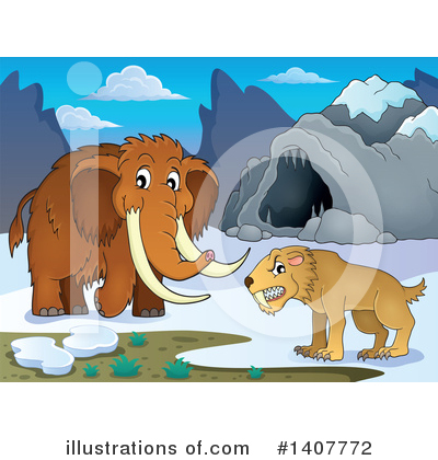 Royalty-Free (RF) Woolly Mammoth Clipart Illustration by visekart - Stock Sample #1407772