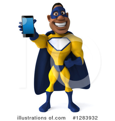 Royalty-Free (RF) Yellow And Blue Super Hero Clipart Illustration by Julos - Stock Sample #1283932