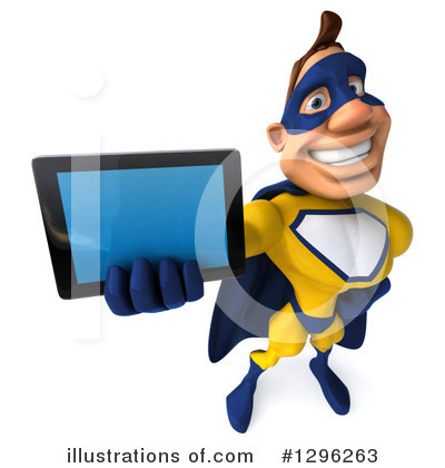 Royalty-Free (RF) Yellow And Blue Super Hero Clipart Illustration by Julos - Stock Sample #1296263