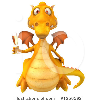 Royalty-Free (RF) Yellow Dragon Clipart Illustration by Julos - Stock Sample #1250592