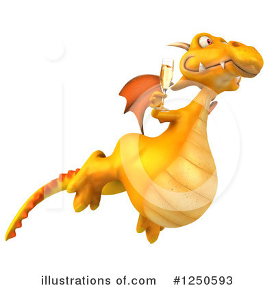 Royalty-Free (RF) Yellow Dragon Clipart Illustration by Julos - Stock Sample #1250593