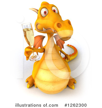 Royalty-Free (RF) Yellow Dragon Clipart Illustration by Julos - Stock Sample #1262300