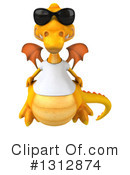 Royalty-Free (RF) Yellow Dragon Clipart Illustration #1312874