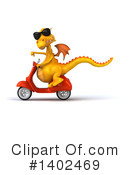 Royalty-Free (RF) Yellow Dragon Clipart Illustration #1402469