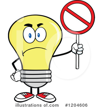 Yellow Light Bulb Clipart #1204606 by Hit Toon