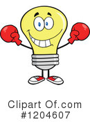 Royalty-Free (RF) Yellow Light Bulb Clipart Illustration #1204607