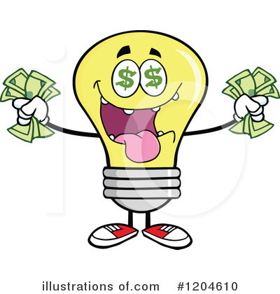 Yellow Light Bulb Clipart #1204610 by Hit Toon