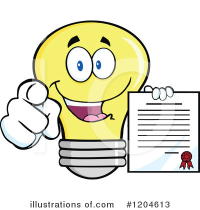 Yellow Light Bulb Clipart #1204613 by Hit Toon