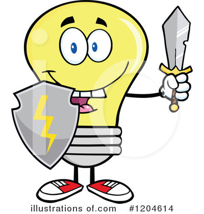 Royalty-Free (RF) Yellow Light Bulb Clipart Illustration by Hit Toon - Stock Sample #1204614