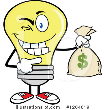 Yellow Light Bulb Clipart #1204619 by Hit Toon