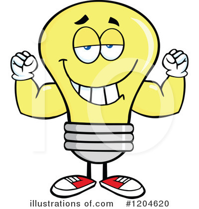Yellow Light Bulb Clipart #1204620 by Hit Toon