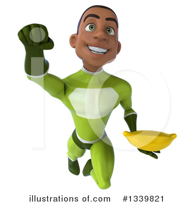 Royalty-Free (RF) Young Black Green Male Super Hero Clipart Illustration by Julos - Stock Sample #1339821