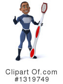 Young Black Male Dark Blue Super Hero Clipart #1319749 by Julos