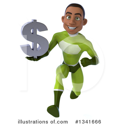 Young Black Green Male Super Hero Clipart #1341666 by Julos
