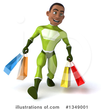 Young Black Green Male Super Hero Clipart #1349001 by Julos
