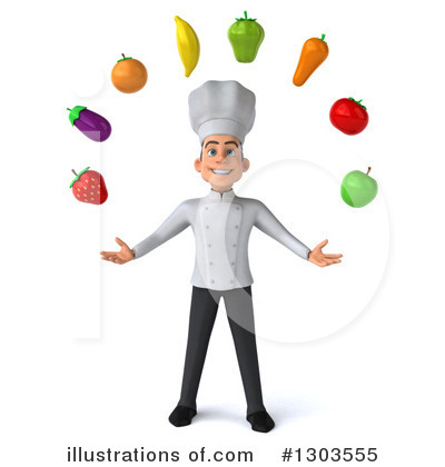 Young White Male Chef Clipart #1303555 by Julos