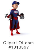 Young White Male Super Hero Mechanic Clipart #1313397 by Julos