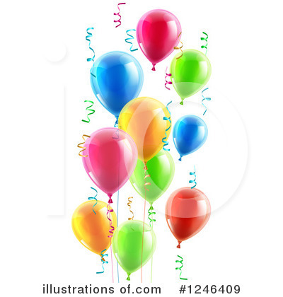 Party Balloons Clipart #1246409 by AtStockIllustration