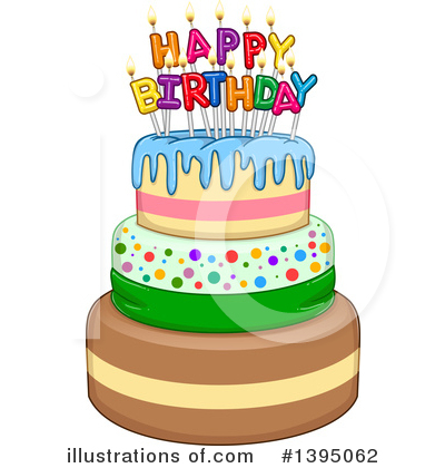Remarkable Birthday Cake Clipart 1395062 Illustration By Liron Peer Birthday Cards Printable Riciscafe Filternl