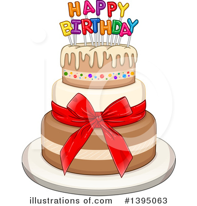 Royalty Free RF Birthday Cake Clipart Illustration By Liron Peer