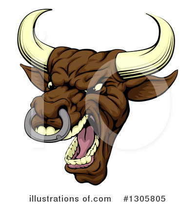 Bull Clipart #1305805 by AtStockIllustration
