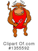 Bull Clipart #1355592 by LaffToon