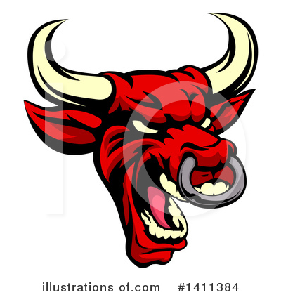 Royalty-Free (RF) Bull Clipart Illustration by AtStockIllustration - Stock Sample #1411384