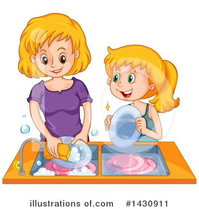 Washing Dishes Clipart #1430911 by Graphics RF