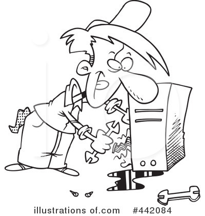 Computer Repair Clipart #442084 - Illustration by toonadayComputer Repair Clip Art Black And White