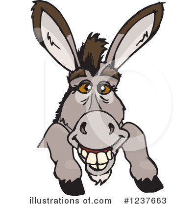 Donkey Clipart #1237663 - Illustration by Dennis Holmes Designs