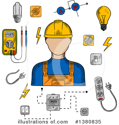 Electrician Clipart #1380835 by Vector Tradition SM