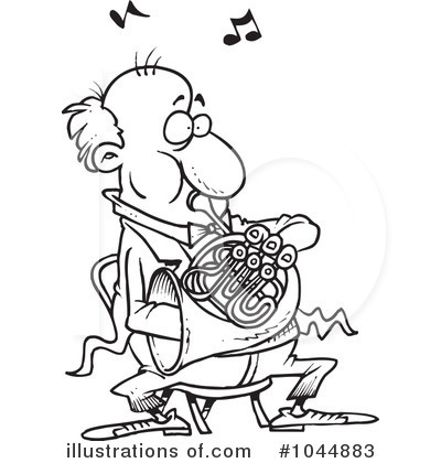 French Horn Clipart #1044883 - Illustration by Ron Leishman