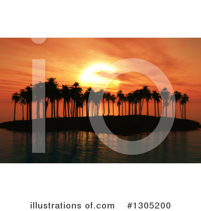 Palm Trees Clipart #1305200 by KJ Pargeter
