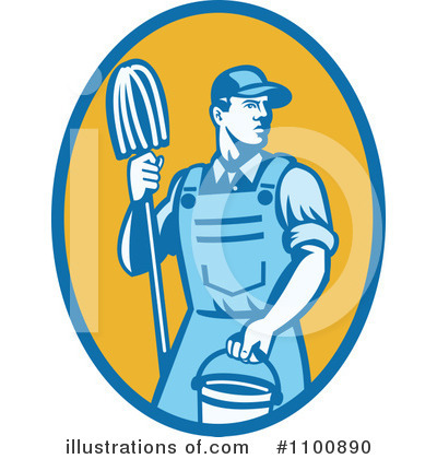 Janitor Clipart #1100890 - Illustration by patrimonio