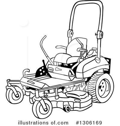 Lawn Mower Clipart #1306169 - Illustration by LaffToon