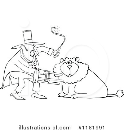 Lion Tamer Clipart #1181991 - Illustration by Dennis Cox