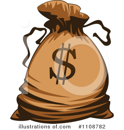 Money Bag Clipart #1108782 - Illustration by Vector Tradition SM