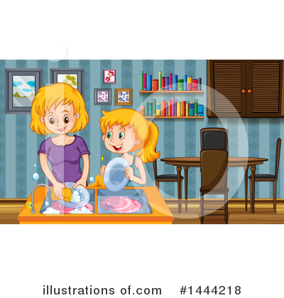 Washing Dishes Clipart #1444218 by Graphics RF