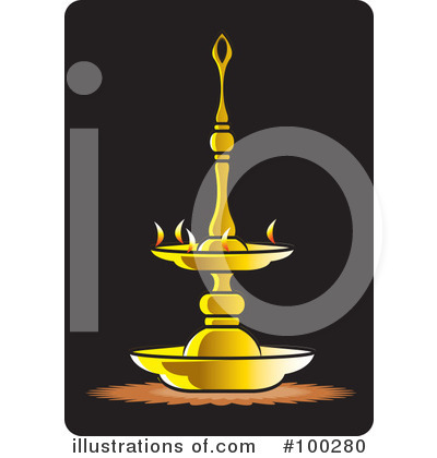 Royalty Free RF Oil Lamp Clipart Illustration By Lal Perera