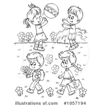 Opposite adjectives with inside and outside Clipart Image