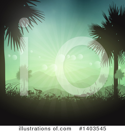 Palm Trees Clipart #1403545 by KJ Pargeter