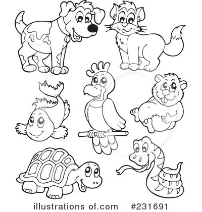 231691 Royalty Free Pets Clipart Illustration on Camping Color Pages