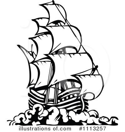 Pirate Ship Clipart #1113257 - Illustration by Prawny Vintage