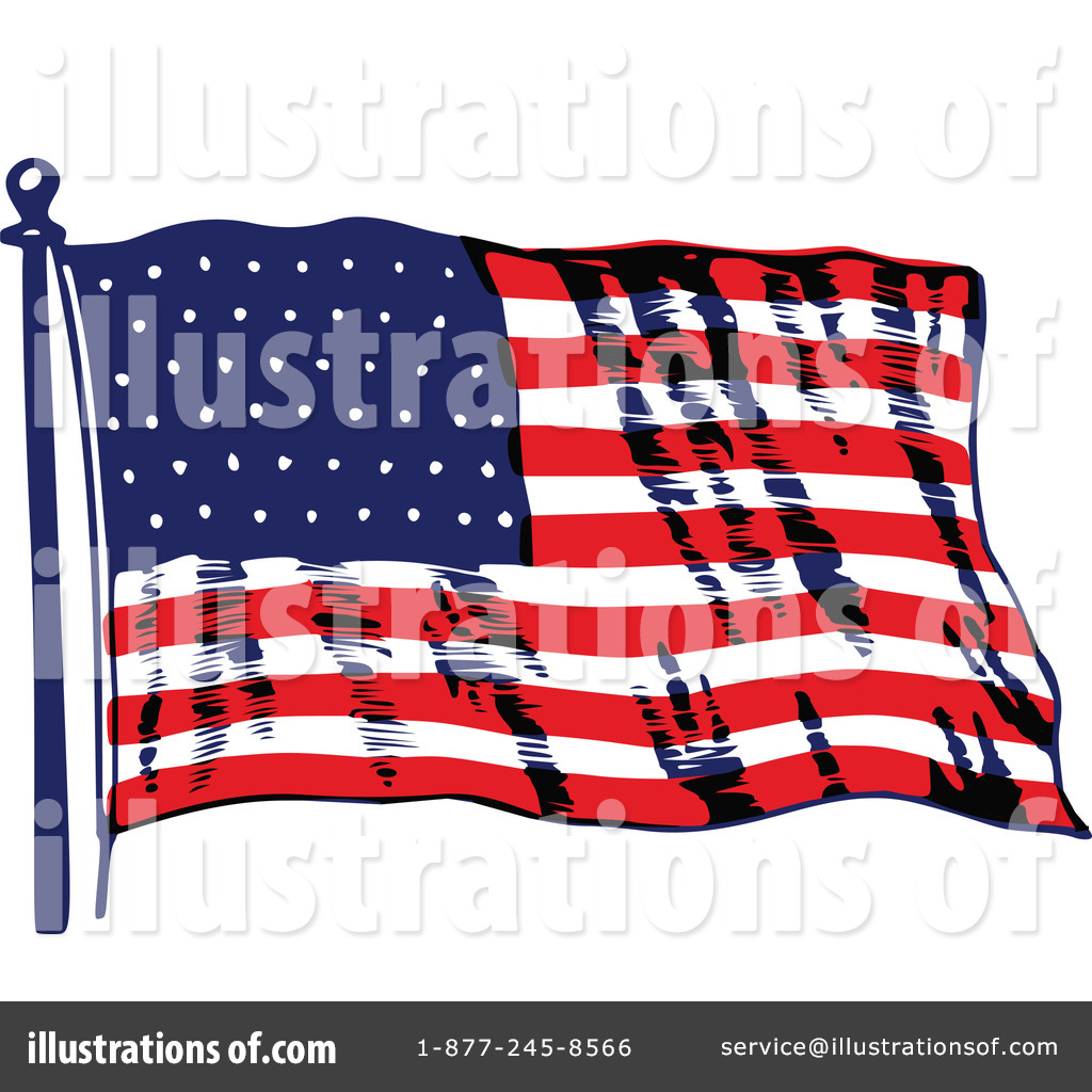Royalty Free RF American Flag Clipart Illustration By Prawny Vintage
