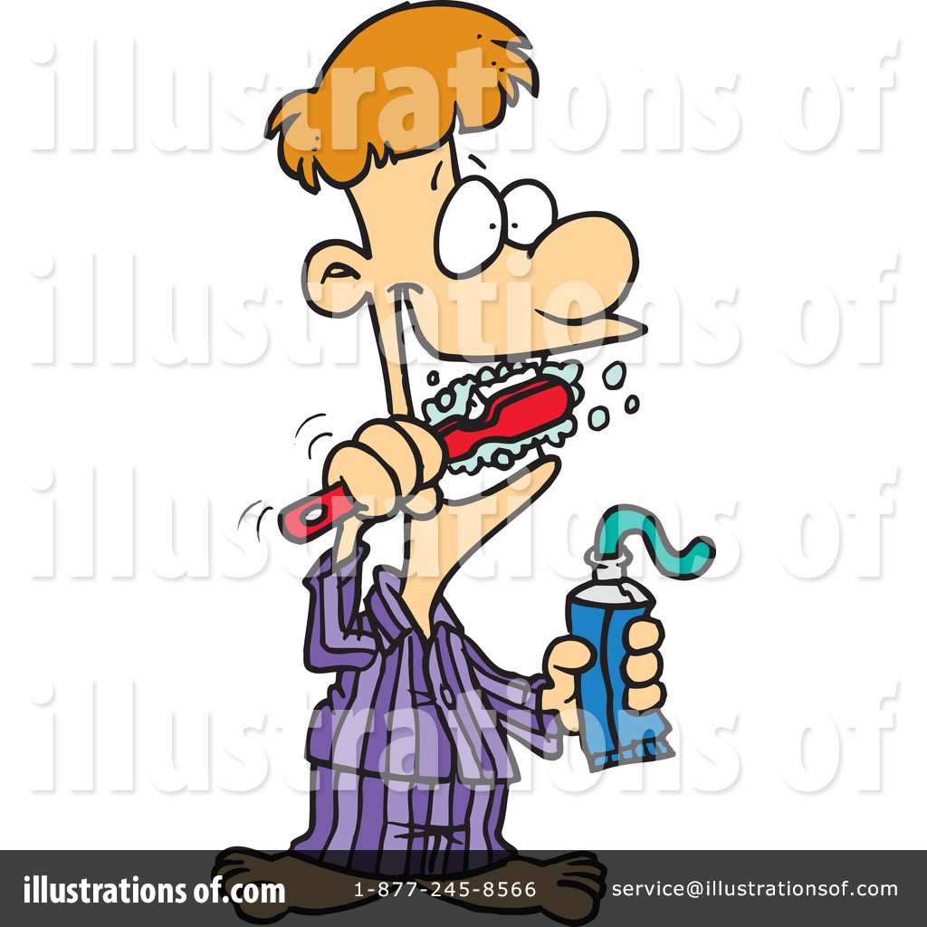 Brushing Teeth Clipart #441290 - Illustration by Ron Leishman
