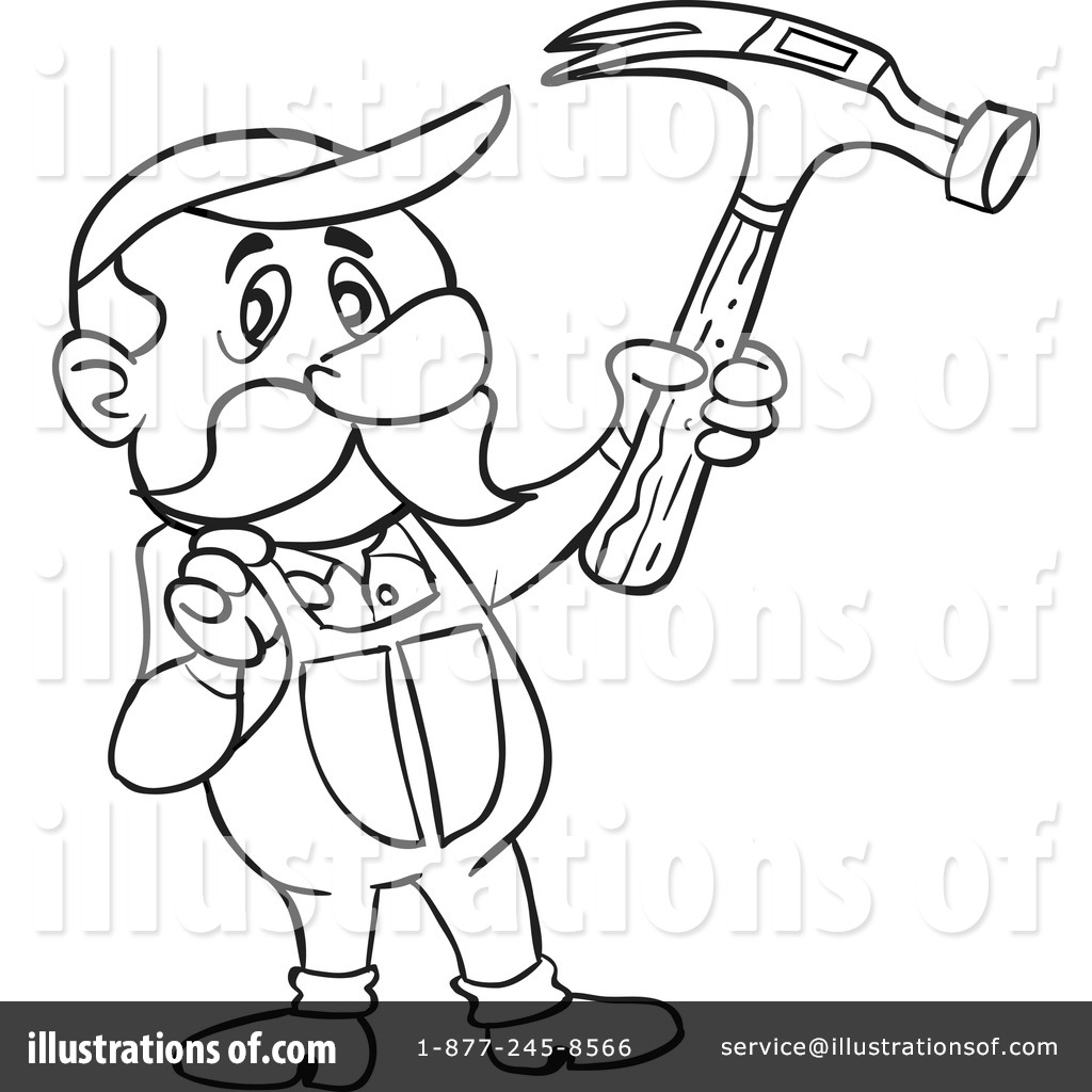 Carpenter Clipart #1219158 - Illustration by LaffToon