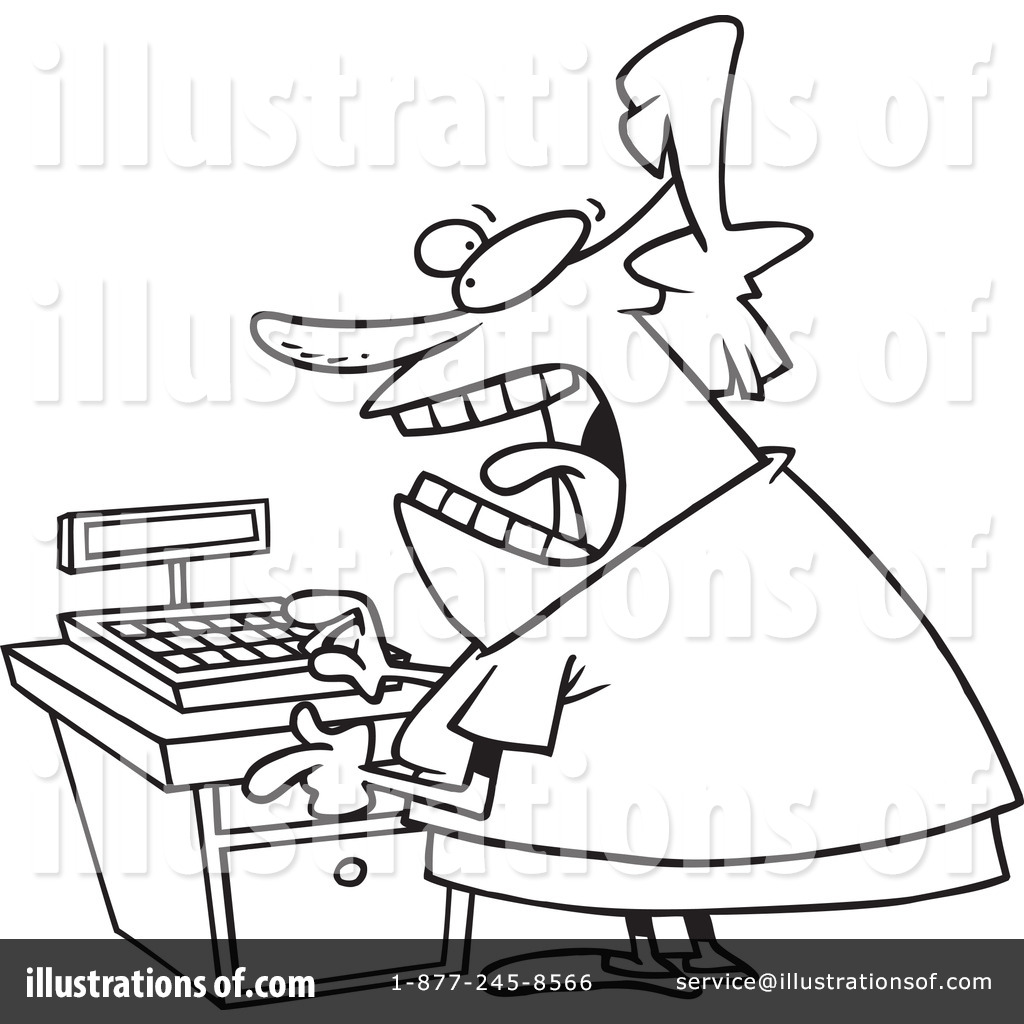 Cashier Clipart #1046564 - Illustration by Ron Leishman